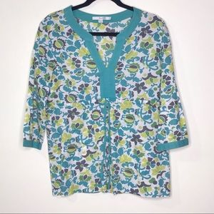Boden Floral Teal Tunic Top